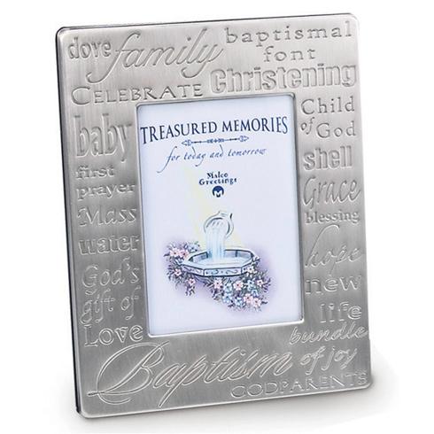 Pewter Baptism Words Picture Frame