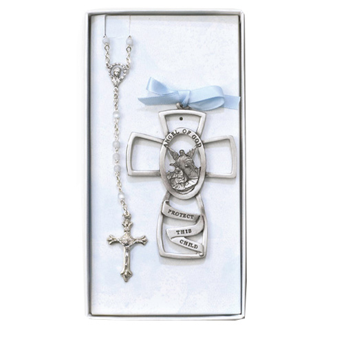 Boy's 3in Pewter Cross and Rosary Set