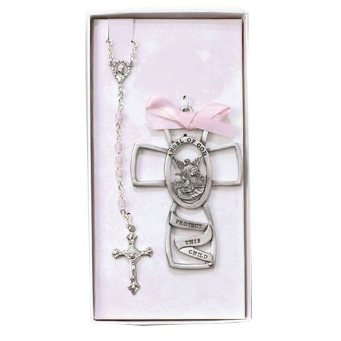 Girl's 3in Pewter Cross and Rosary Set