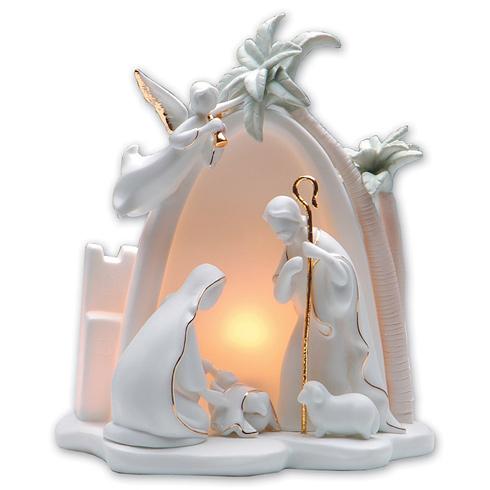 Porcelain 7 1/2in Lighted Holy Family Nativity Scene