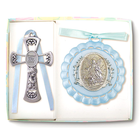 Boy's Guardian Angel Ornament and Pewter Cross Set