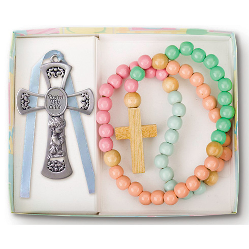 Boy's Wood Rosary and Pewter Cross Set