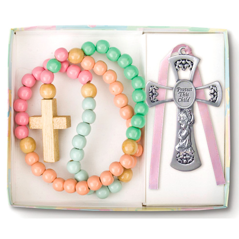Girl's Wood Rosary and Pewter Cross Set