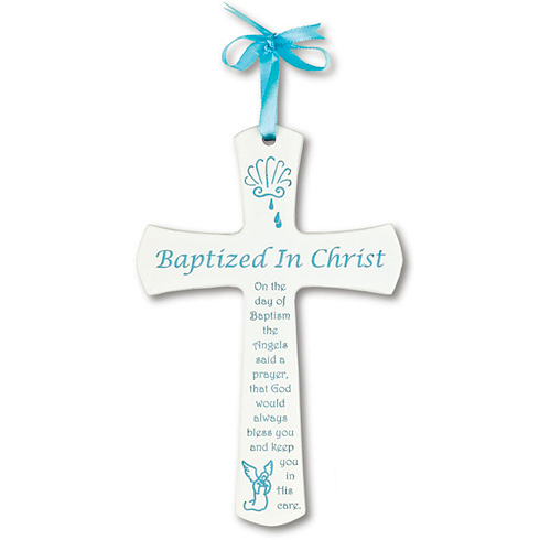 Baby Boy's 6in Baptism White Cross
