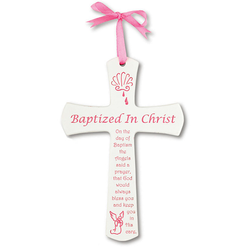 Baby Girl's 6in Baptism White Cross