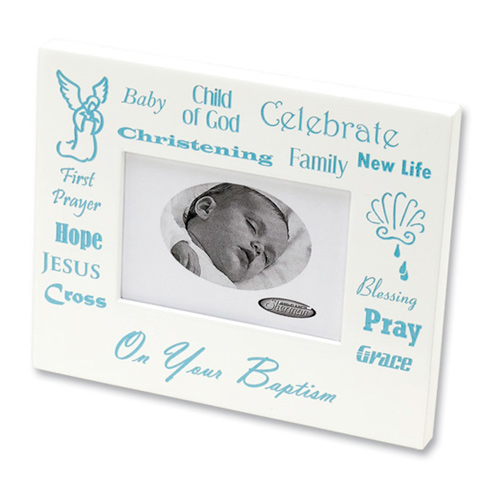 Baby Boy's Christening White Picture Frame