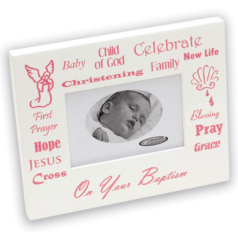 Baby Girl's Christening White Picture Frame
