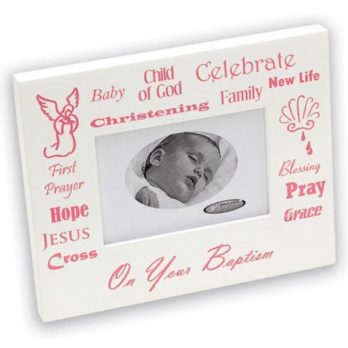 Baby Girl's Christening White Picture Frame