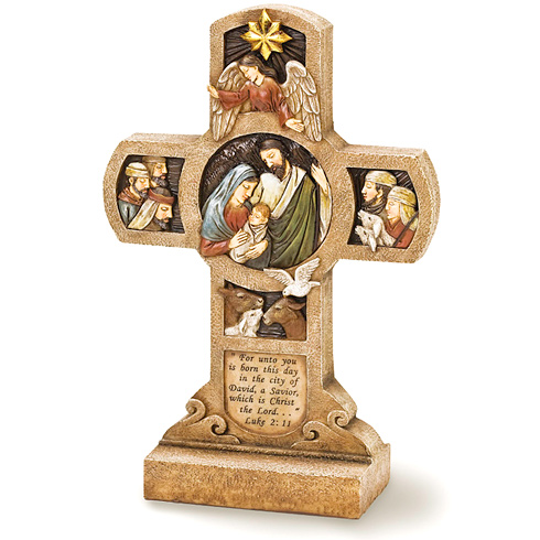Nativity Standing Cross 10in tall
