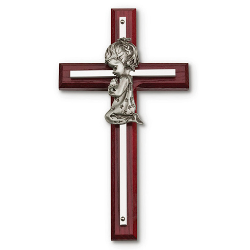 Cherry Stained Wood 7in Wall Cross with Girl Praying