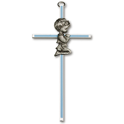 6in Gold Plated Praying Boy Blue Wall Cross