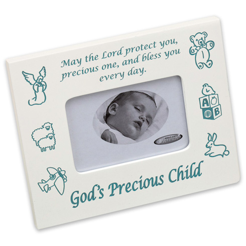 God's Precious Child Blue Picture Frame