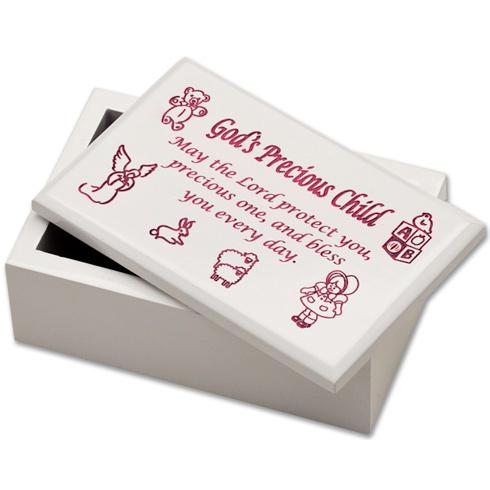 God's Precious Child Pink Wooden Keepsake Box