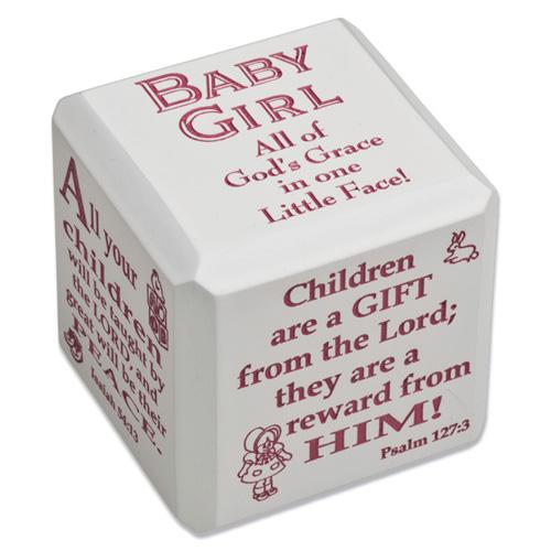 Baby Girl Scripture Cube