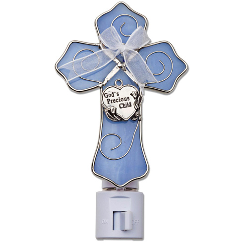 Baby Boy Stained Glass Cross Night Light