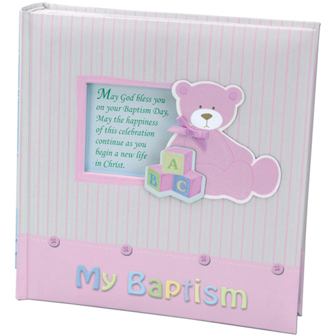 Baby Girl's My Baptism Teddy Bear Photo Album