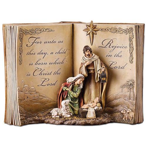 Resin 12in Holy Family Bible Nativity Scene