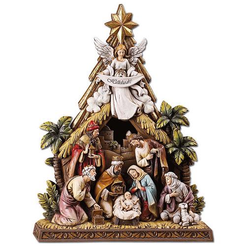 Resin 10 1/2in Nativity Scene with Angel