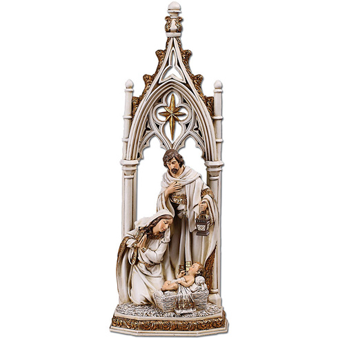 Resin 12 1/4in Gothic Holy Family Nativity Scene