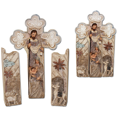 Three Piece Nativity Cross 9in tall