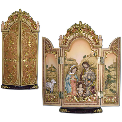 Hinged Holy Family Nativity Triptych 8 1/2in wide