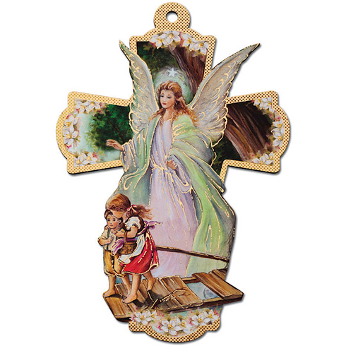 8 1/4in Italian Wooden Guardian Angel Wall Cross