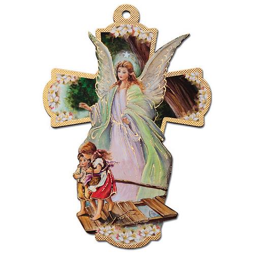 12in Italian Wooden Guardian Angel Wall Cross