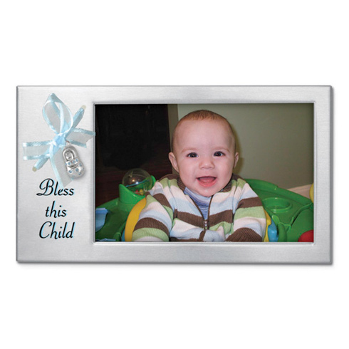 Bless this Child Blue Ribbon Baby Shoe Picture Frame