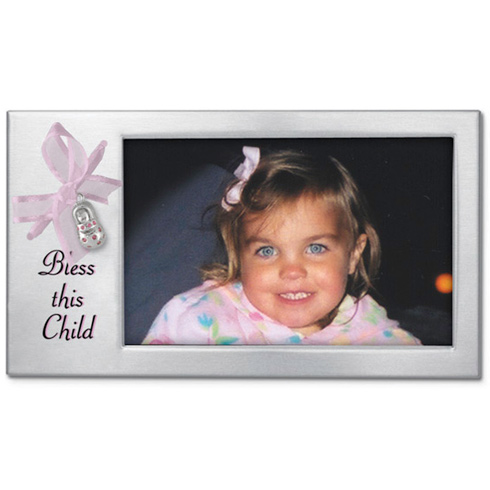 Bless this Child Pink Ribbon Baby Shoe Picture Frame