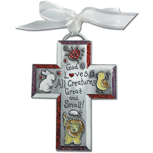 4 3/4in Metal God Loves All Creatures Wall Cross