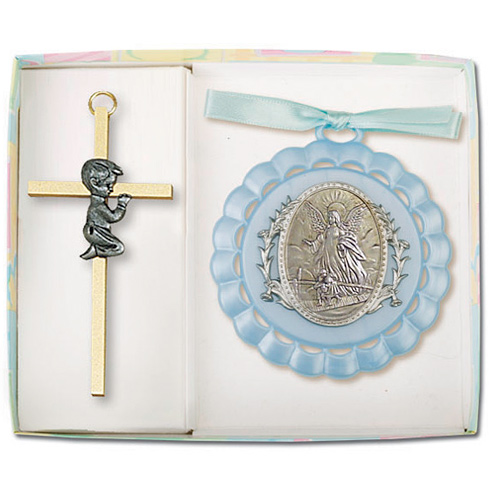 Boy's Guardian Angel Ornament and 4in Praying Cross Set