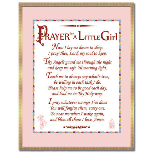 Brass Prayer for a Little Girl Plaque