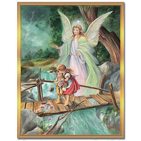Baptism Guardian Angel with Children Plaque
