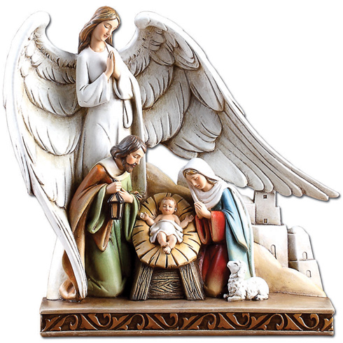 Resin 8 1/4in Winged Angel with Holy Family Nativity Scene