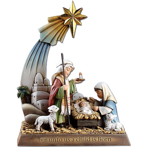 Kiddie Holy Family Scene with Star 9 1/2in tall