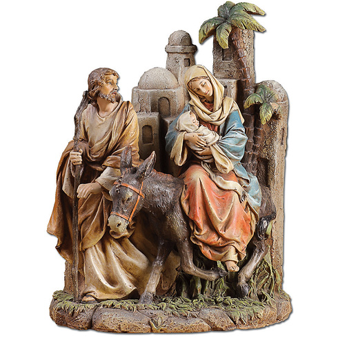 Faux Wood Carved Flight into Egypt Scene 10 1/2in tall