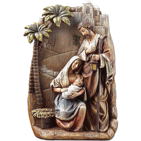 Faux Wood Carved 10 1/4in Holy Family Nativity Scene