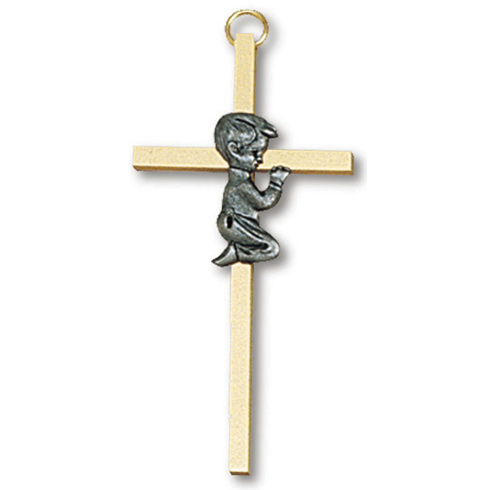 4in Gold Plated Praying Boy Wall Cross