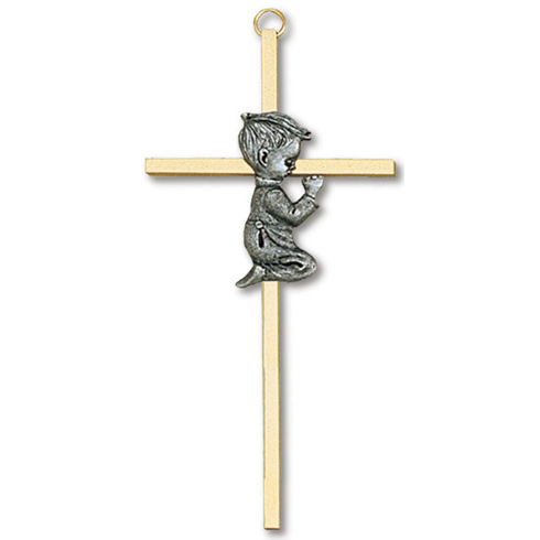 7in Gold Plated Praying Boy Wall Cross