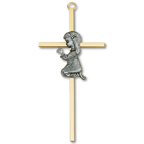 7in Gold Plated Praying Girl Wall Cross