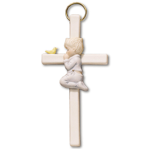 7 1/2in Praying Boy Bisque Porcelain Wall Cross