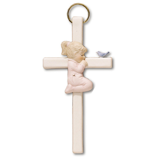 Bisque Porcelain 7 1/2in Praying Girl Wall Cross