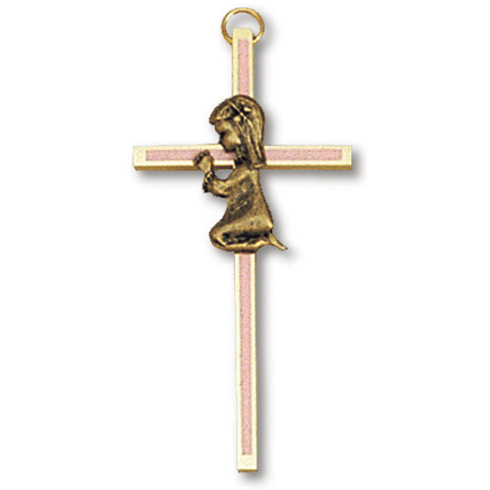 4in Gold Plated Praying Girl Blue Wall Cross