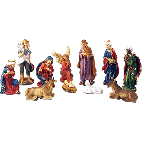 Resin 8in 11-Piece Bold Color Nativity Figurines Set