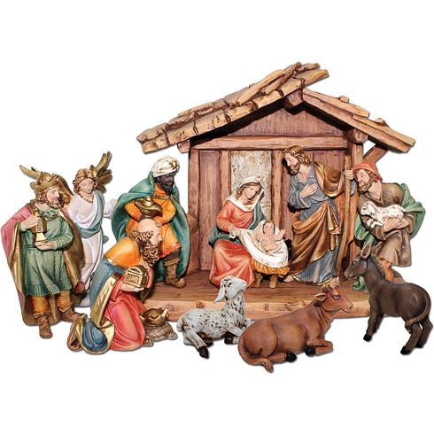 11 Figure Nativity Scene with Manger