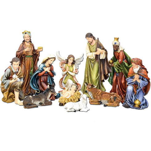 Resin 8in 11-Figure Holy Family Nativity Scene with Bold Color