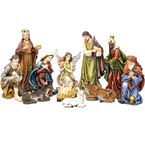 11 Figure Holy Family Nativity 12in Tall