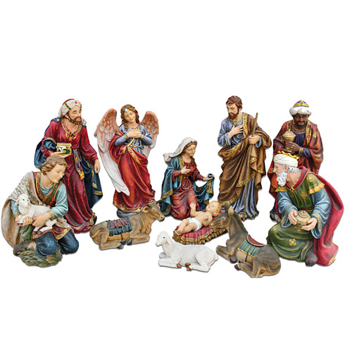 11 Figure Holy Family Nativity Set 8in Tall