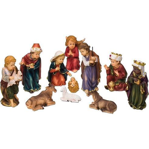11 Figure Kiddie Nativity Scene 5in Tall