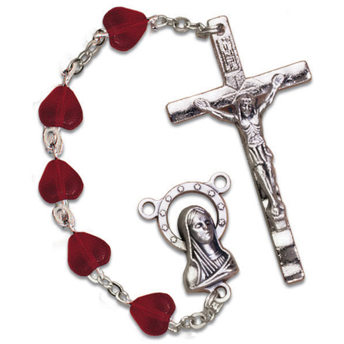 Silver Oxidized Red Heart Frosted Glass Bead Rosary